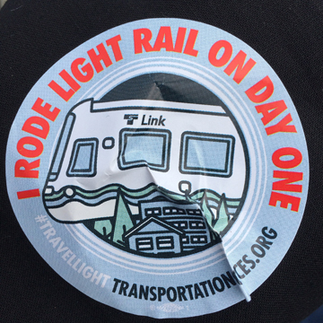 I Rode Light Rail on Day One Sticker