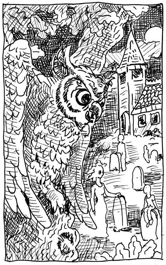 "Today's Inktober Picture is ""Owl Be Back"""