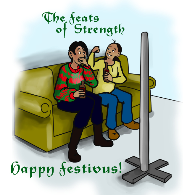"""In this Rhapsodies Illustration, Paul and Nancy celebrate Festivus with """"Feats of Strength."""""""